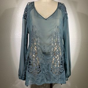 Johnny Was 4 Love and Liberty Silk tunic Sz S NWT